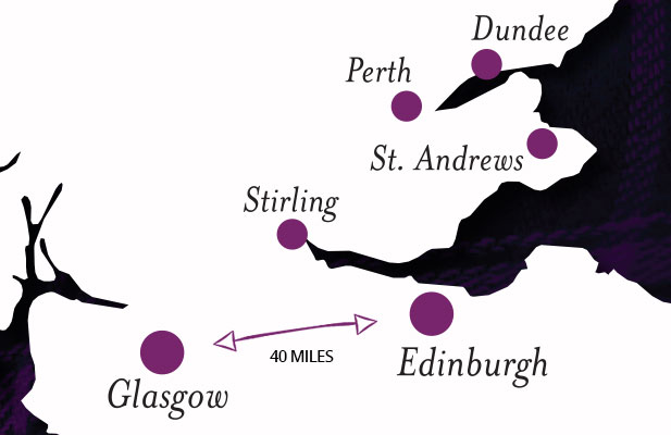 Map showing distance from Edinburgh to Glasgow